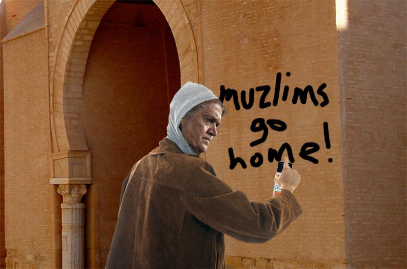 Before Leaving Saudi Bannon Sprays Muzlims Go